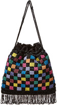 STAUD Beaded Check Drawstring Pouch