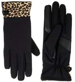 Isotoner Women's SmartDRI Spandex Gloves with Leopard-Print Cuff and smarTouch Technology