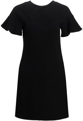 Lela Rose Short Flutter-Sleeve Tunic Dress