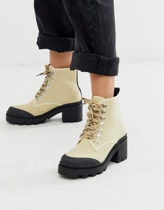 Truffle Collection lace up hiker boots in beige