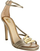 Chloé taupe satin and gold bar strappy sandals