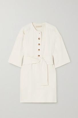 Vanessa Bruno Naomi Belted Linen And Silk-blend Mini Dress - Cream