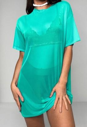 Missguided Mint Oversized Mesh T Shirt Dress