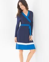 Soma Intimates Long Sleeve Colorblock Short Dress Navy/Capri Blue