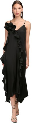 Magda Butrym Ruffled Silk Satin Long Midi Dress
