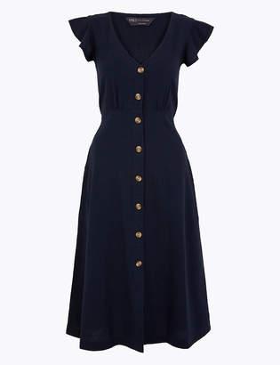 Marks and Spencer Linen Blend Fit & Flare Midi Dress