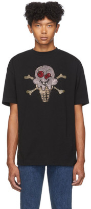 Palm Angels Black ICECREAM Edition Rhinestones T-Shirt