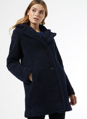 Dorothy Perkins Womens Navy Long Teddy Coat