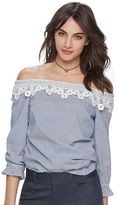 Elle Women's ELLETM Crochet Off-the-Shoulder Seersucker Top