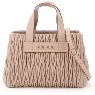Miu Miu Matelasse Logo Top Handle Tote Bag