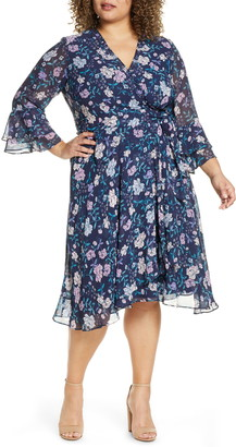Tahari Long Sleeve Faux Wrap Chiffon Dress