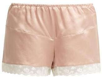 Morpho + Luna Bina Lace-trimmed Silk Shorts - Womens - Dark Pink