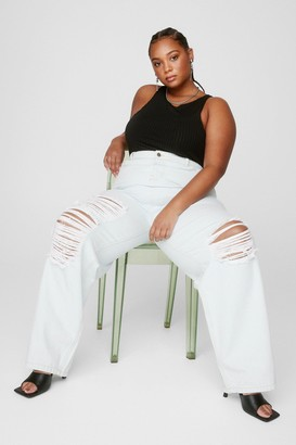 Nasty Gal Womens Because I Shred So Plus Distressed Jeans - Bleach Wash