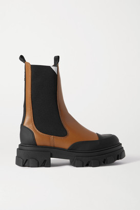 Ganni Rubber-trimmed Leather Chelsea Boots - Tan