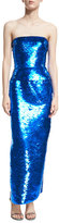 Oscar de la Renta Strapless Sequined Column Gown