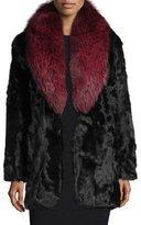Diane von Furstenberg Gautam Fur Coat w/Fox Fur Collar, Black/Red