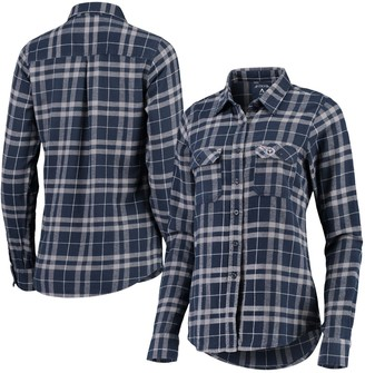 Antigua Women's Navy/Gray Tennessee Titans Stance Flannel Button-Up Long Sleeve Shirt