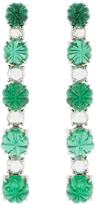 Bayco Zambian Emerald and Rose Cut Drop Earrings
