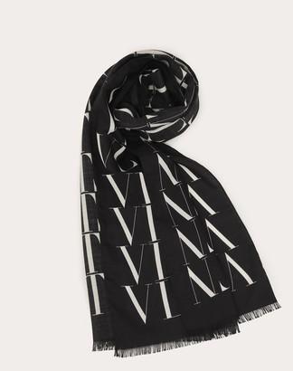 Valentino Uomo Vltn Times Scarf In Wool And Silk Man White/ Black Virgin Wool 70%, Silk 30% OneSize