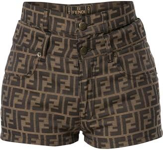 Fendi Pre Owned Zucca pattern layered shorts