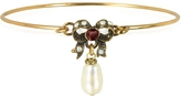 Alcozer & J Happiness Goldtone Brass Bow and Glass Pearl Bangle