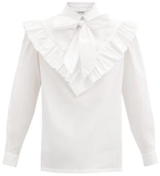 Batsheva Carol Tie-neck Cotton-poplin Blouse - White
