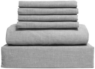 Lintex Bedding Chambray Cotton and Polyester Sheet, 6 Piece Set, Gray, Full