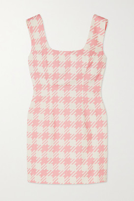 ROWEN ROSE Vichy Open-back Houndstooth Cotton-twill Mini Dress - Pink