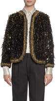 Marc Jacobs Runway) Embroidered Feather Open Blazer