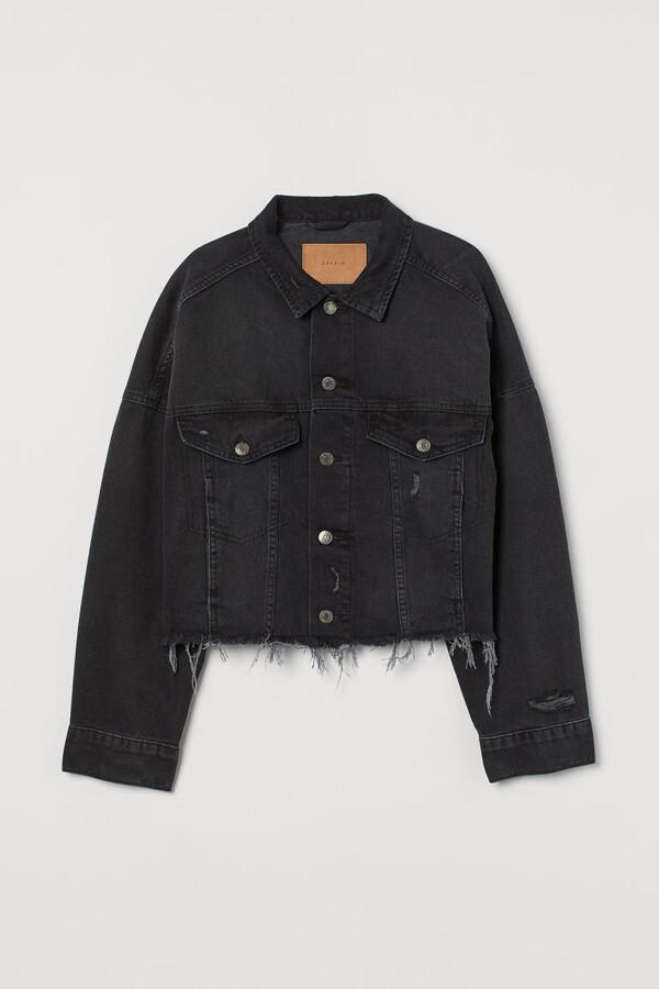 H&M Boxy Denim Jacket - Black
