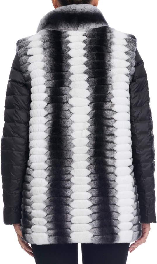Gorski Detachable-Sleeve Rex Rabbit Fur Coat