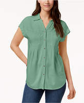 Style&Co. Style & Co Pleated Cuffed-Sleeve Top, Created for Macy's
