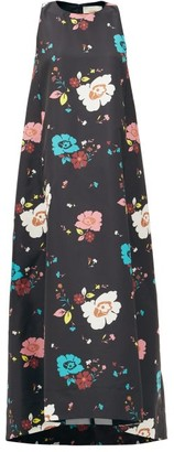 La DoubleJ Juno Giardino Nero-print Faille Dress - Black Multi