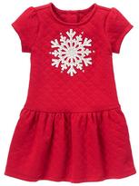 Red Snowflake Drop-Waist Dress - Infant & Toddler