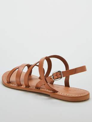 Very Hannah Strappy Leather Flat Sandals - Tan