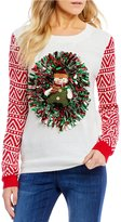 So It Is Snowman Tinsel Wreath Holiday Sweater