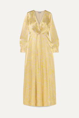 Ganni Knotted Floral-print Satin Maxi Dress - Yellow