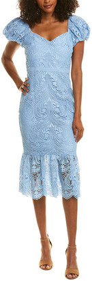 Monique Lhuillier Ml Lace Midi Dress