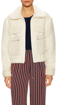 Diane von Furstenberg Wool Plush Fur Trim Bomber Jacket