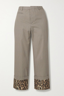 R 13 Silk Satin-trimmed Houndstooth Cotton Straight-leg Pants - Gray