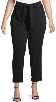 INC International Concepts Plus Tie-Waist Cropped Pants