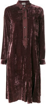 Hache velvet button-up shirt dress