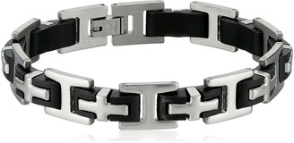 Crucible Jewelry Mens Stainless Steel and Rubber Cross Link Bracelet