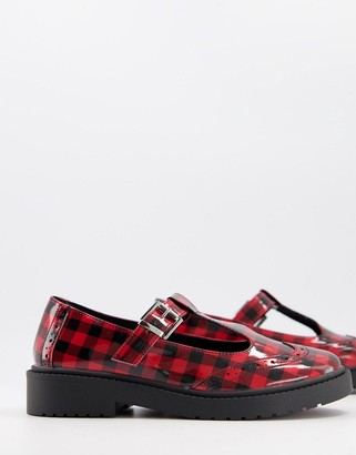 ASOS DESIGN Maisie chunky Mary-Jane flat shoes in red check