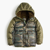 J.Crew Boys' camo colorblock marshmallow puffer jacket