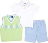 Good Lad Green Argyle Sweater Vest & Blue Shorts Set - Infant