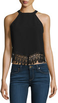 Glamorous Sleeveless Crop Top with Lace Trim, Black