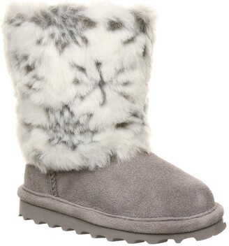BearPaw Callie Snowflake Faux Fur Trim Genuine Shearling Lined Suede Boot