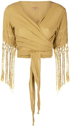 CARAVANA Wrap Top With Fringe Sleeves