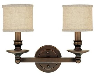 Birch Lane Birch LaneTM Heritage Attina 2-Light Dimmable Vanity Light Heritage Finish: Burnished Bronze, Shade Color: Beige